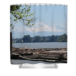 Fraser River And Mount Baker Shower Curtain