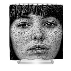 Freckle Face Closeup  Shower Curtain by Jim Fitzpatrick