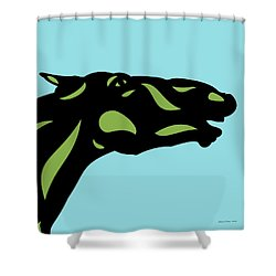 Fred - Pop Art Horse - Black, Greenery, Island Paradise Blue Shower Curtain