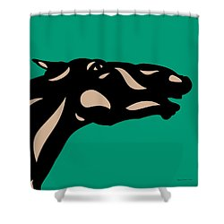 Fred - Pop Art Horse - Black, Hazelnut, Emerald Shower Curtain