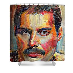Freddie Mercury Colorful Portrait Shower Curtain