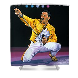 Freddie Mercury Live Shower Curtain by Paul Meijering