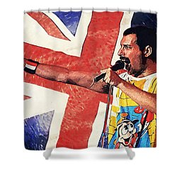 Freddie Mercury Shower Curtain by Taylan Apukovska