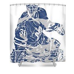 Frederik Andersen Toronto Maple Leafs Pixel Art 1 Shower Curtain