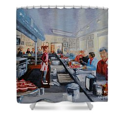 Fred's Breakfast Of New Hope Shower Curtain by Cindy Roesinger