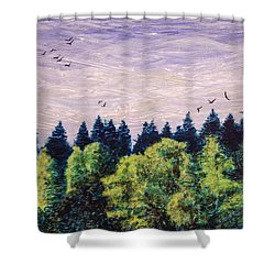 Shower Curtain featuring the painting Free As The Wind by Ron Richard Baviello