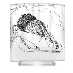 Shower Curtain featuring the drawing Free Hugs Bw by Denise Fulmer