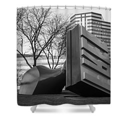 Free Stamp In Cleveland In Black And White  Shower Curtain by John McGraw
