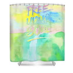 Free Your Soul Watercolor Colorful Spring Waterfall Painting Shower Curtain