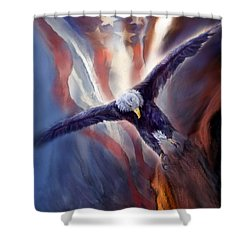 Shower Curtain featuring the mixed media Freedom Eagle by Carol Cavalaris