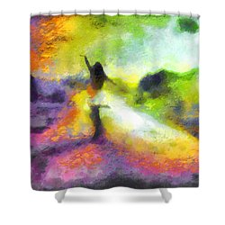Freedom In The Rainbow Shower Curtain by Mario Carini