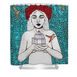 Shower Curtain featuring the mixed media Freedom by Natalie Briney