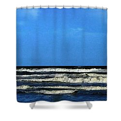 Shower Curtain featuring the digital art Freeport Texas Seascape Digital Painting A51517 by Mas Art Studio