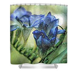 Shower Curtain featuring the photograph Freesia Carved In Blue by Lance Sheridan-Peel