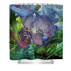 Shower Curtain featuring the photograph Freesia Multi Coloured by Lance Sheridan-Peel