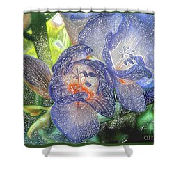 Shower Curtain featuring the photograph Freesia's In Bloom by Lance Sheridan-Peel