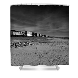 Freight Train Along  Salton Sea Shower Curtain
