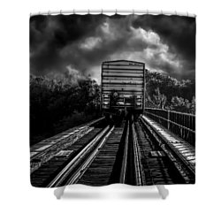 Freight Train Blues Shower Curtain by Bob Orsillo