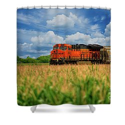 Freight Train Shower Curtain by Kelly Wade