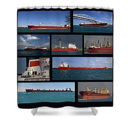 Freighter Collage Shower Curtain by Mary Bedy