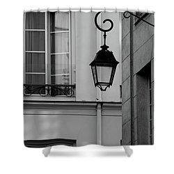 Shower Curtain featuring the photograph French Alley Lantern-black And White by Jani Freimann