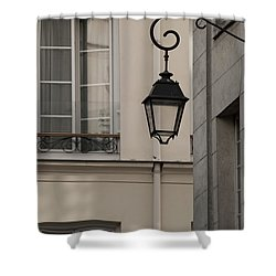Shower Curtain featuring the photograph French Alley Lantern-sepia by Jani Freimann