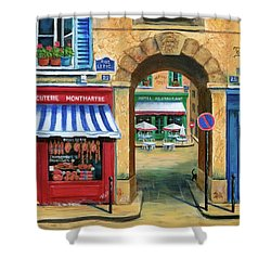 French Butcher Shop Shower Curtain by Marilyn Dunlap