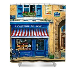 French Cheese Shop Shower Curtain by Marilyn Dunlap