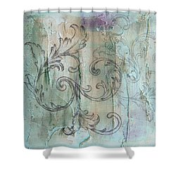 Shower Curtain featuring the painting French Country Scroll In Muted Blue by Jocelyn Friis