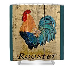 French Country Shabby Cottage Rooster Shower Curtain