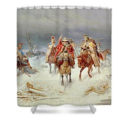 French Forces Crossing The River Berezina In November 1812 Shower Curtain by Bogdan Willewalde