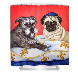 Shower Curtain featuring the painting French Friends by Laura Aceto