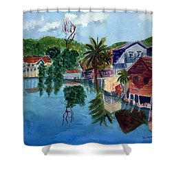 French Harbor Isla De Roatan Shower Curtain by Donna Walsh