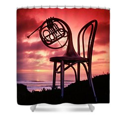 French Horn On Chair Shower Curtain by Garry Gay