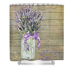 French Lavender Rustic Country Mason Jar Bouquet On Wooden Fence Shower Curtain