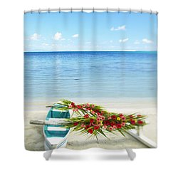 French Polynesia, Huahine Shower Curtain by Kyle Rothenborg - Printscapes