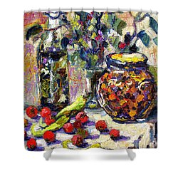 French Provence Cooking Still Life Shower Curtain by Ginette Callaway