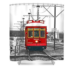 French Quarter French Market Cable Car New Orleans Color Splash Black And White With Film Grain Shower Curtain