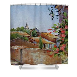 Shower Curtain featuring the painting French Village by Chris Hobel