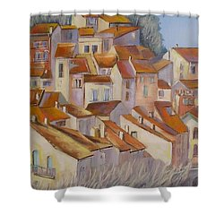 French Villlage Painting Shower Curtain by Chris Hobel