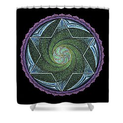 Shower Curtain featuring the painting Frequency Harmonizer by Keiko Katsuta