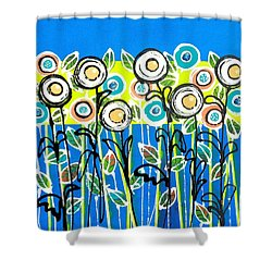 Fresh Blue Flowers Shower Curtain