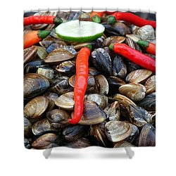 Shower Curtain featuring the photograph Fresh Clams With Chilies And Limes by Yali Shi