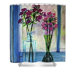 Shower Curtain featuring the painting Fresh Cut Flowers In The Window by Patricia L Davidson