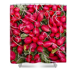 Fresh Red Radishes Shower Curtain by John Trax