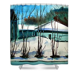 Shower Curtain featuring the painting Fresh Snow Double Matted by Charlie Spear