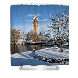 Fresh Snow In Riverfront Park - Spokane Washington Shower Curtain by Daniel Hagerman