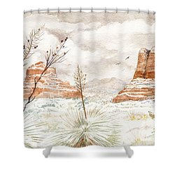 Fresh Snow On Bell Rock Shower Curtain