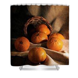Fresh Tangerines In Brown Basket Shower Curtain by Jaroslaw Blaminsky