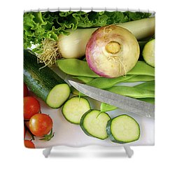 Fresh Vegetables Shower Curtain by Carlos Caetano